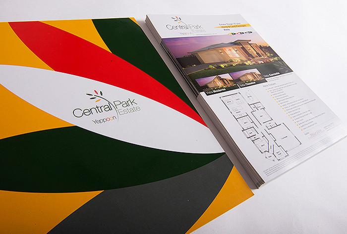 Central Park Estate presentation folder and house specification flyers